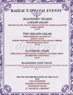 menu for Razzals Sports Bar and Grill