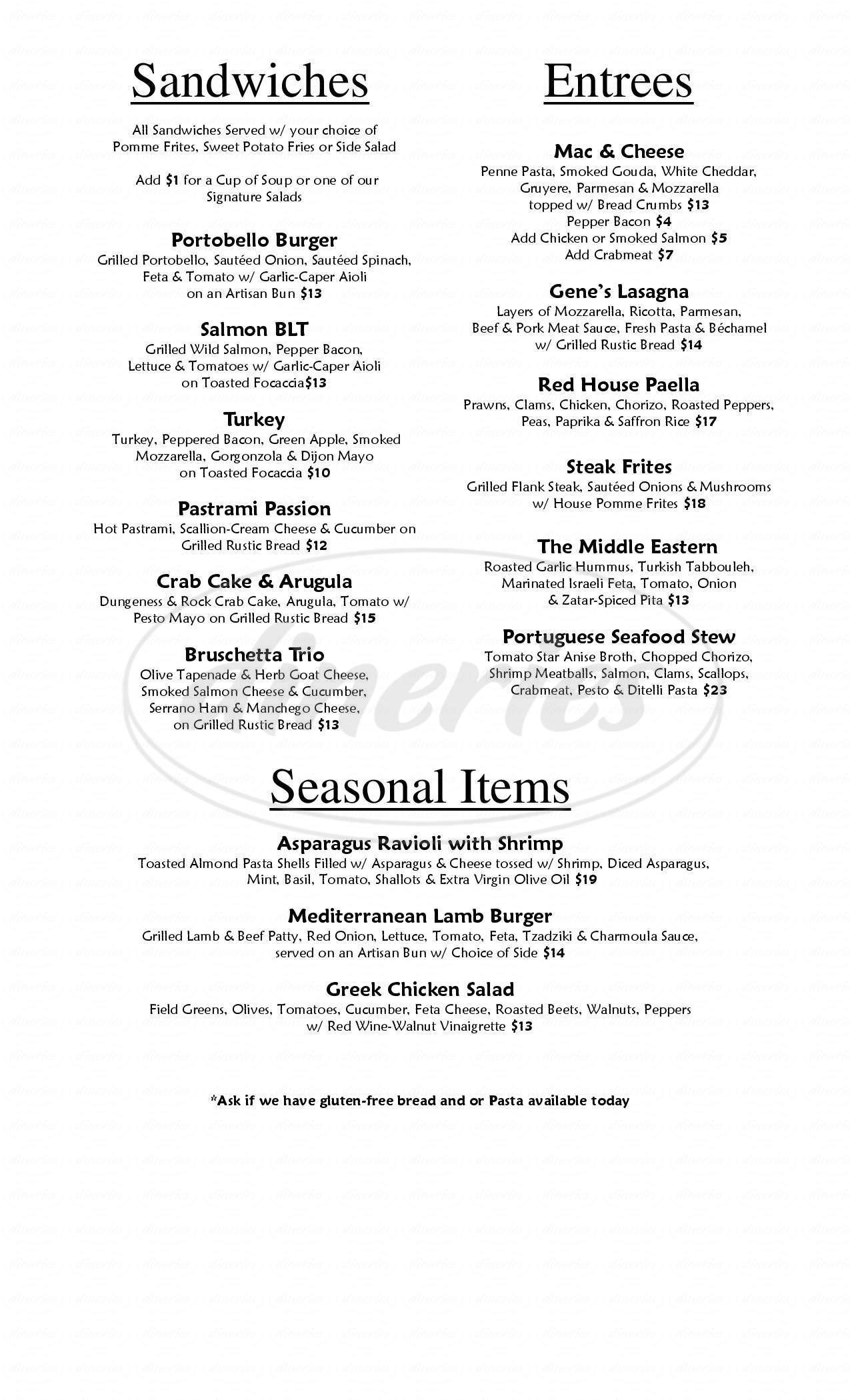 menu for Red House Beer & Wine Shoppe