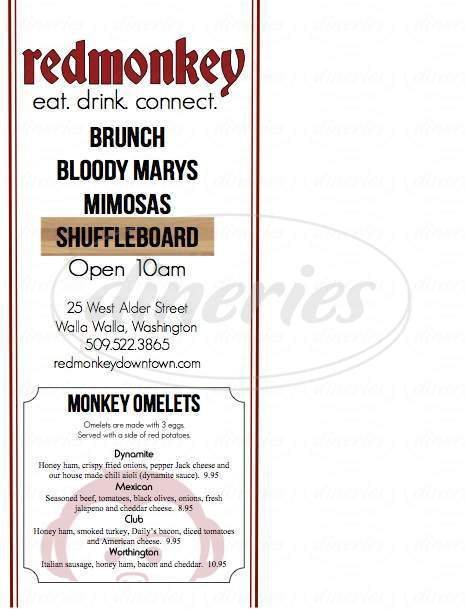 menu for Red Monkey Downtown Lounge