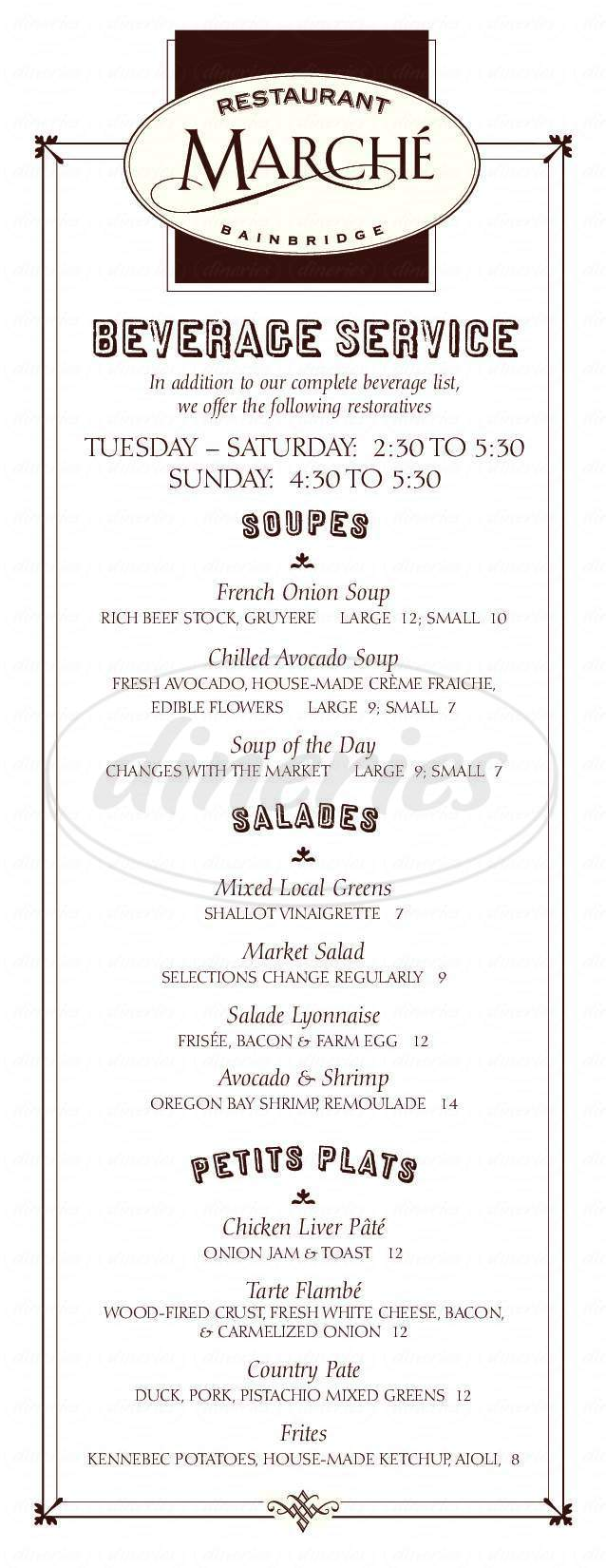 menu for Restaurant Marché