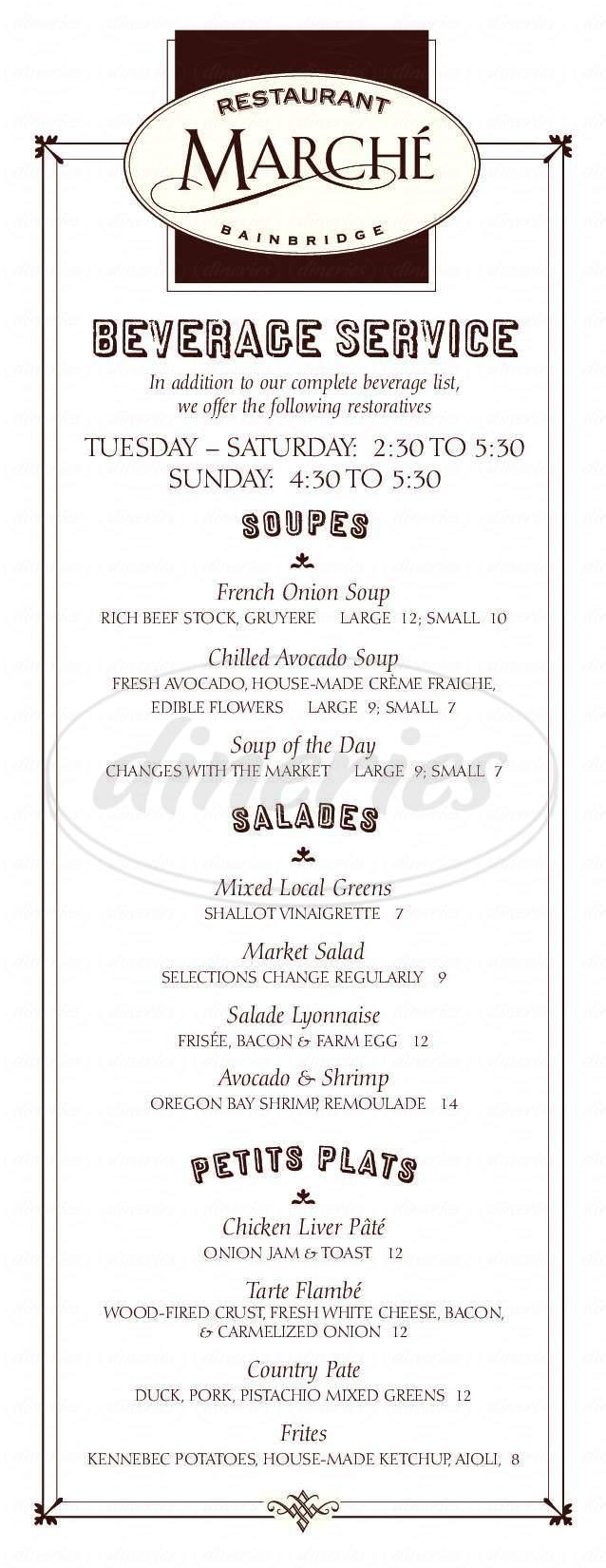 menu for Restaurant Marché