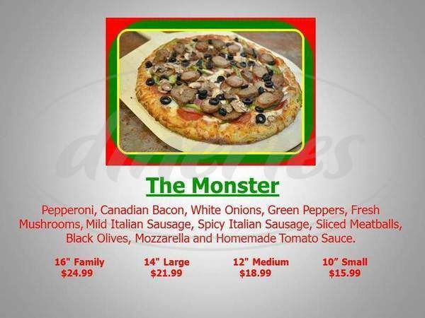 menu for Rich's 5 Star Pizza