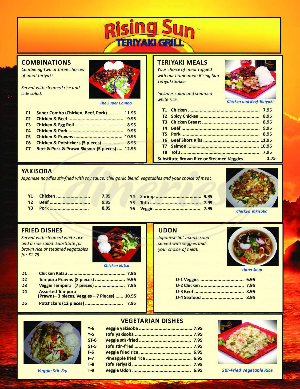 menu for Rising Sun Teriyaki Grill