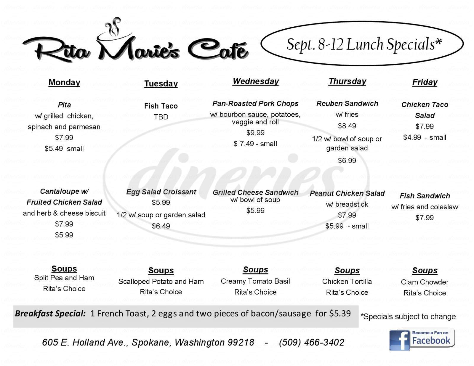 menu for Rita Marie's Cafe