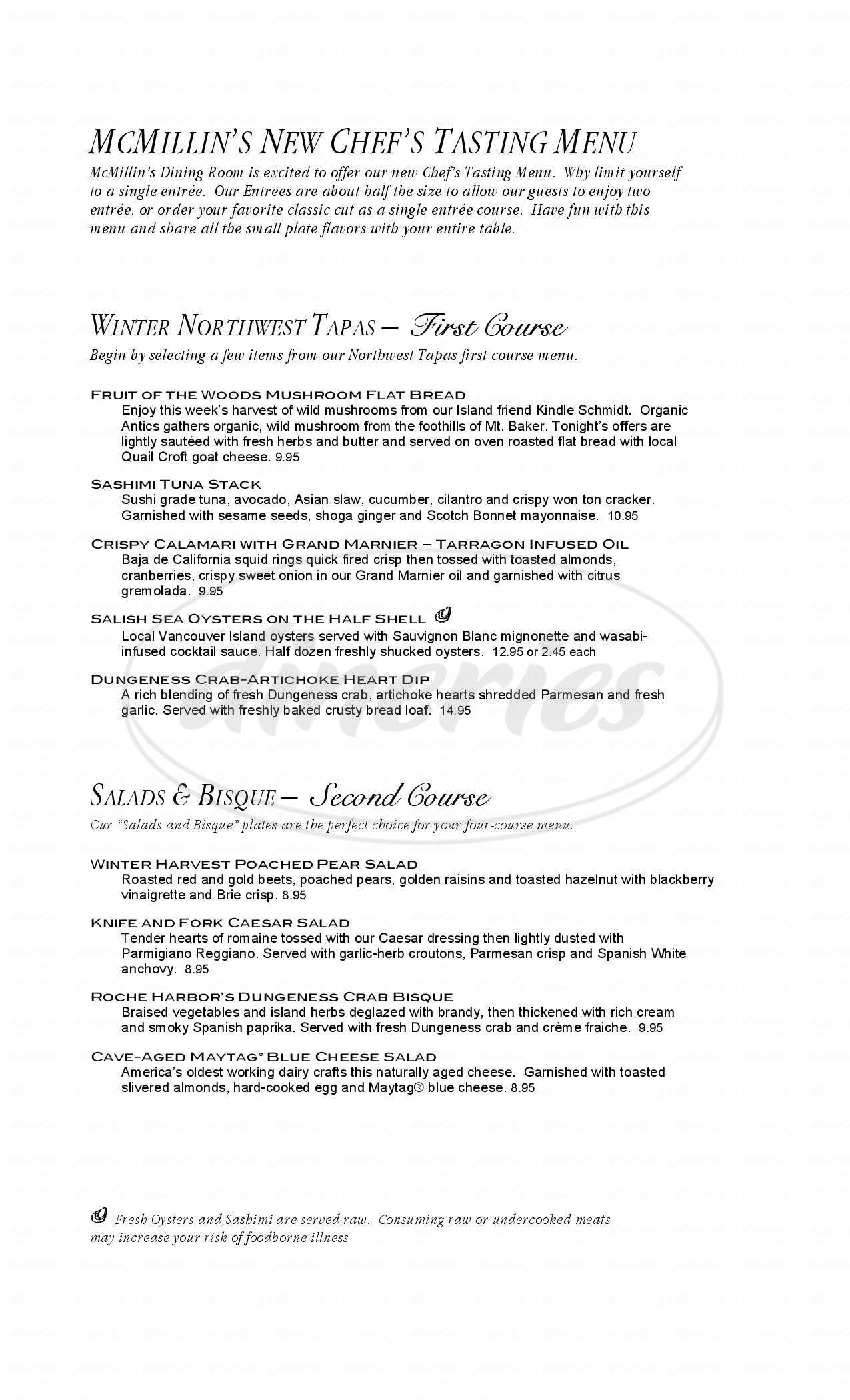 menu for Roche Harbor Resort