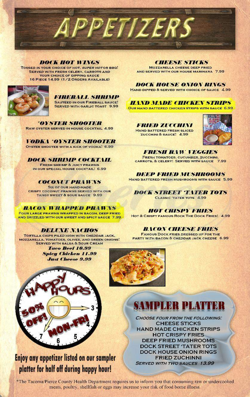 menu for Rock The Dock Pub & Grill