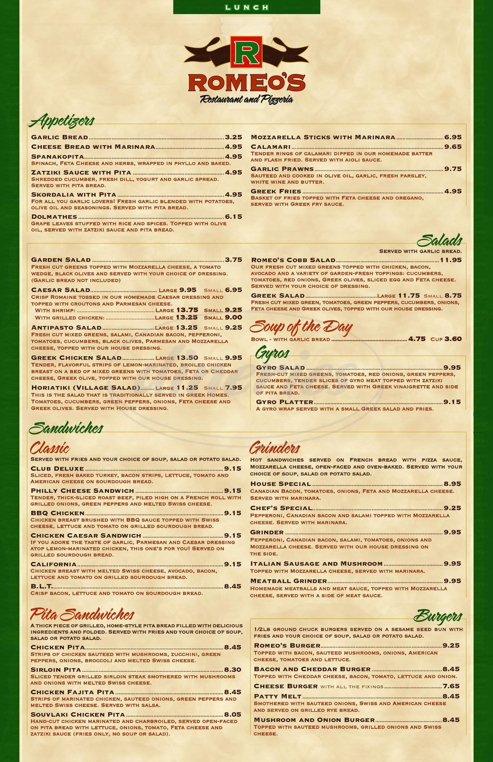 menu for Romeo's Restaurant & Pizzeria