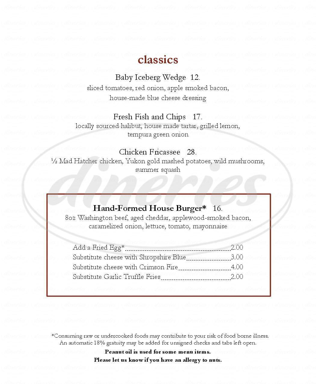 menu for The Mansion Restaurant