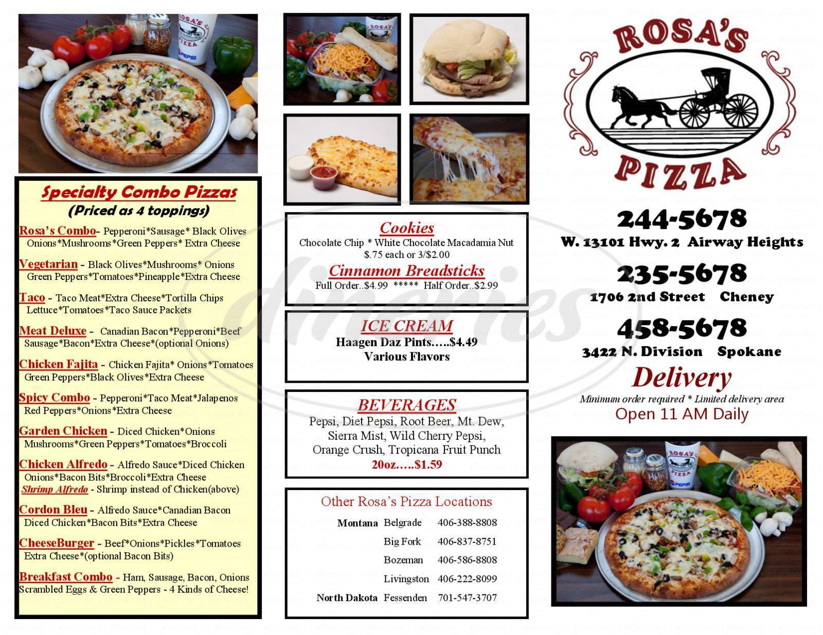 menu for Rosas Pizza