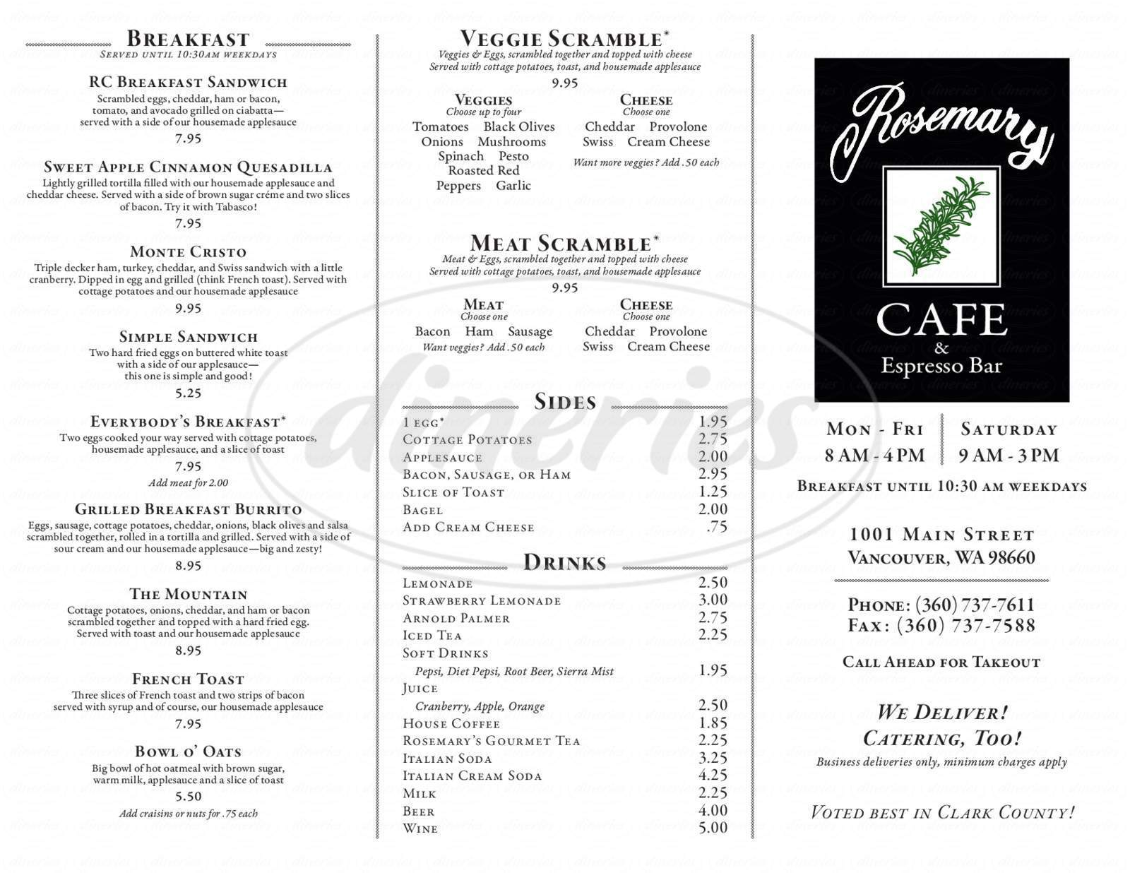 menu for Rosemary Cafe