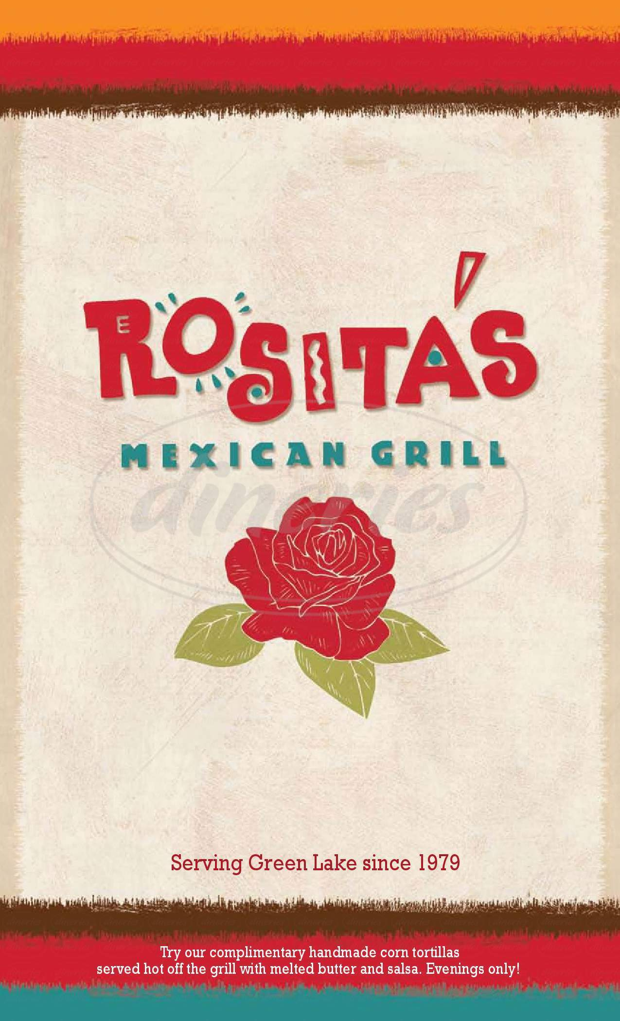menu for Rosita's Mexican Grill