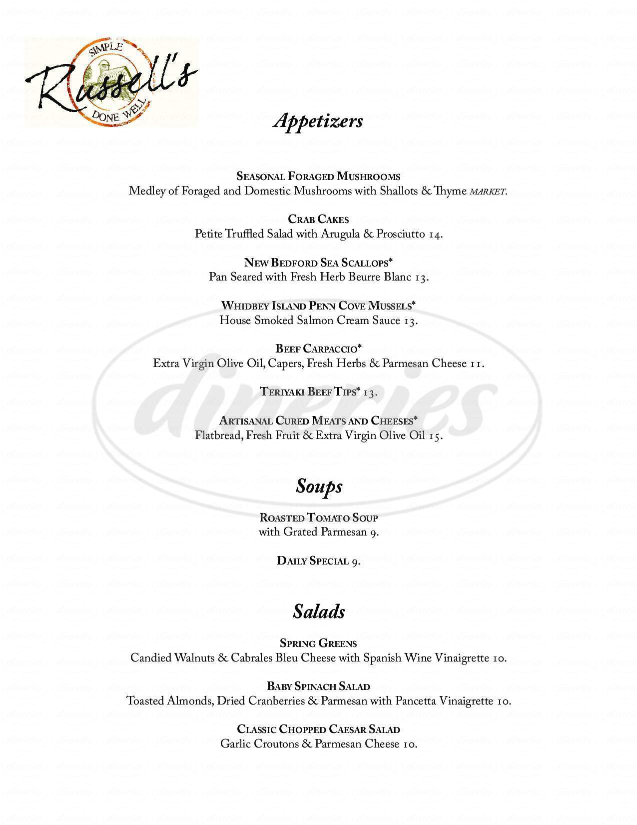 menu for Russell's