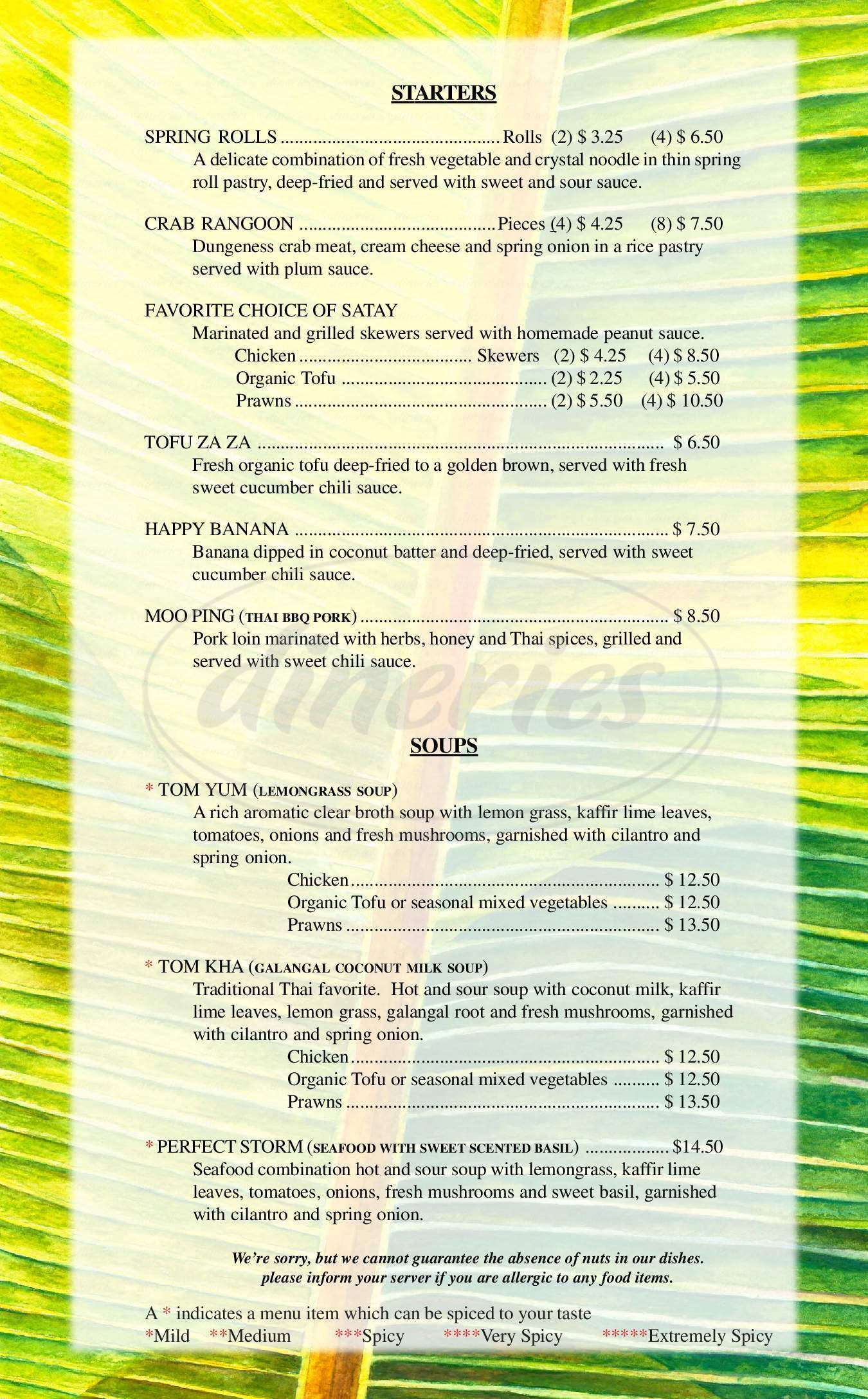 menu for Sabai Thai Cuisine