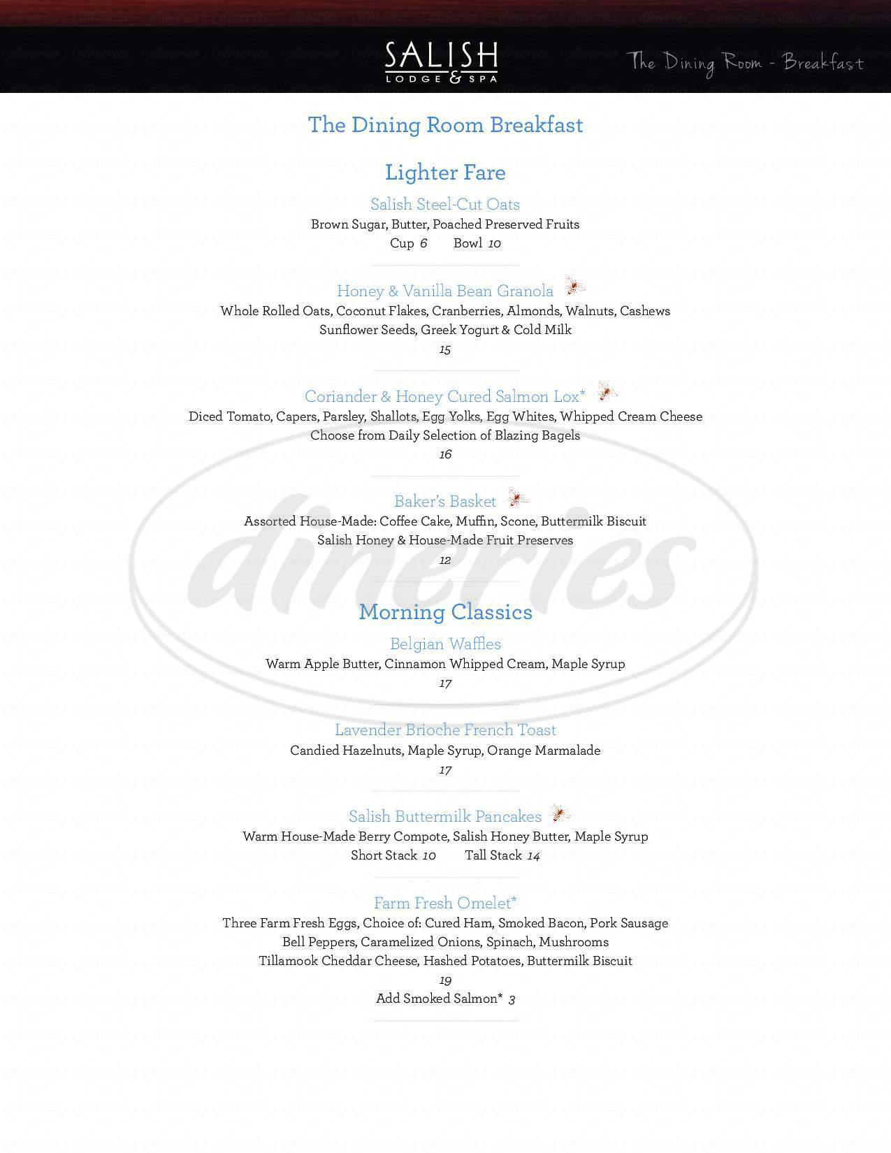 menu for The Salish Lodge Dining Room