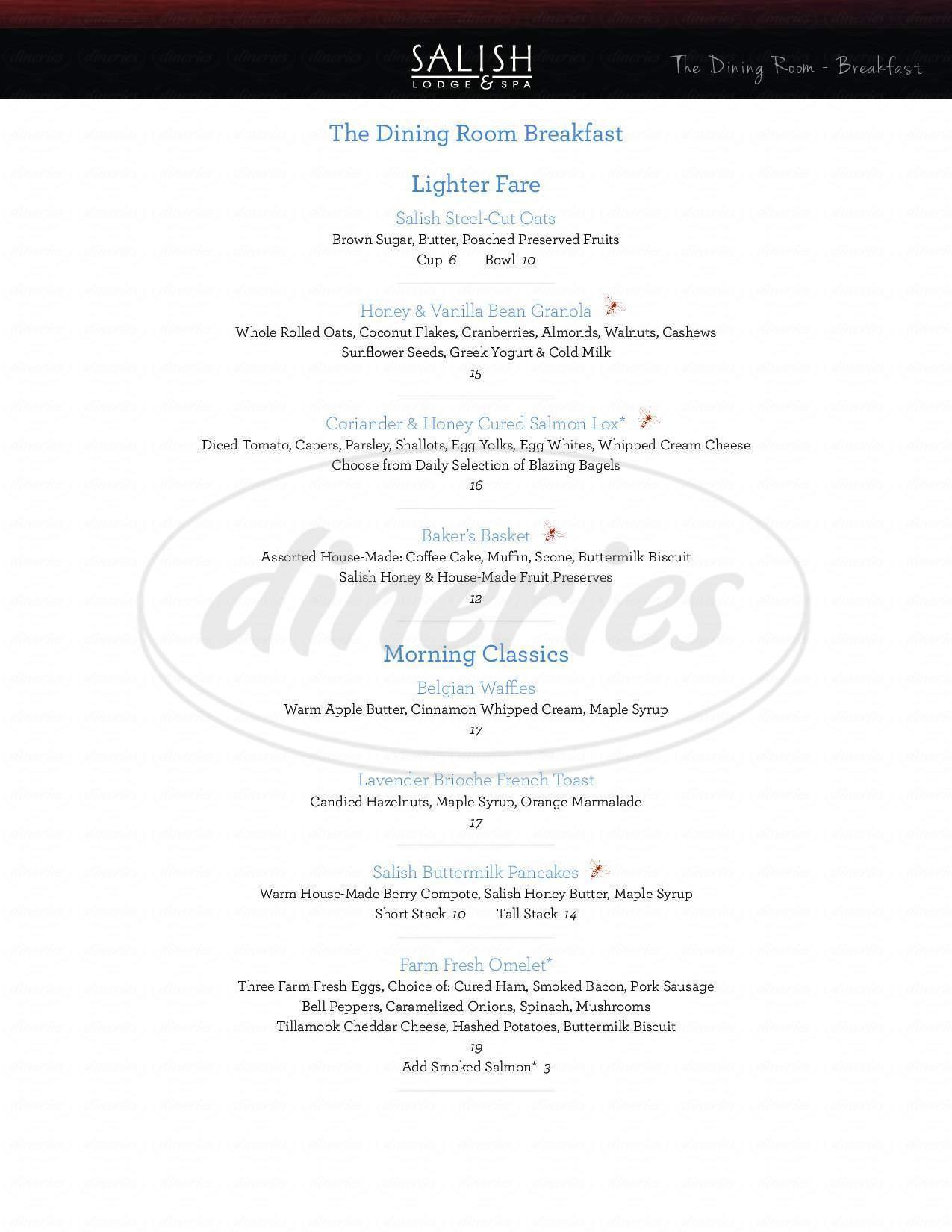 menu for The Salish Lodge Dining Room