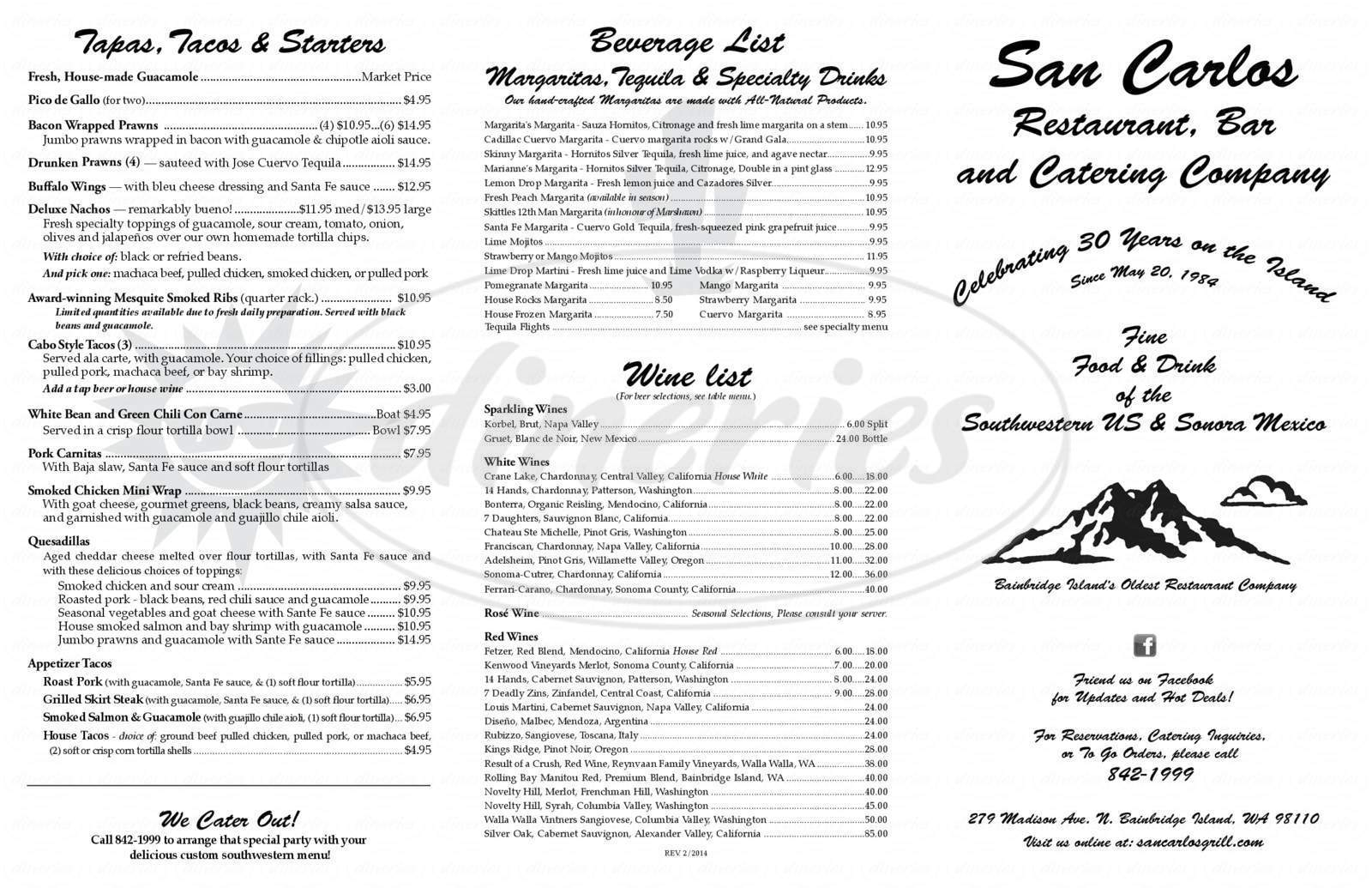 menu for San Carlos Restaurant