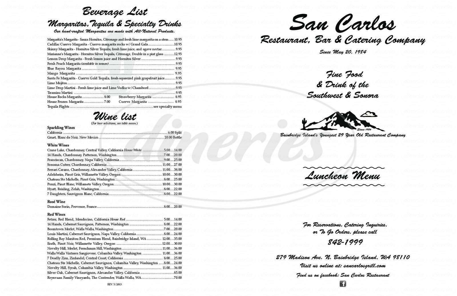 menu for Sandy's Espresso