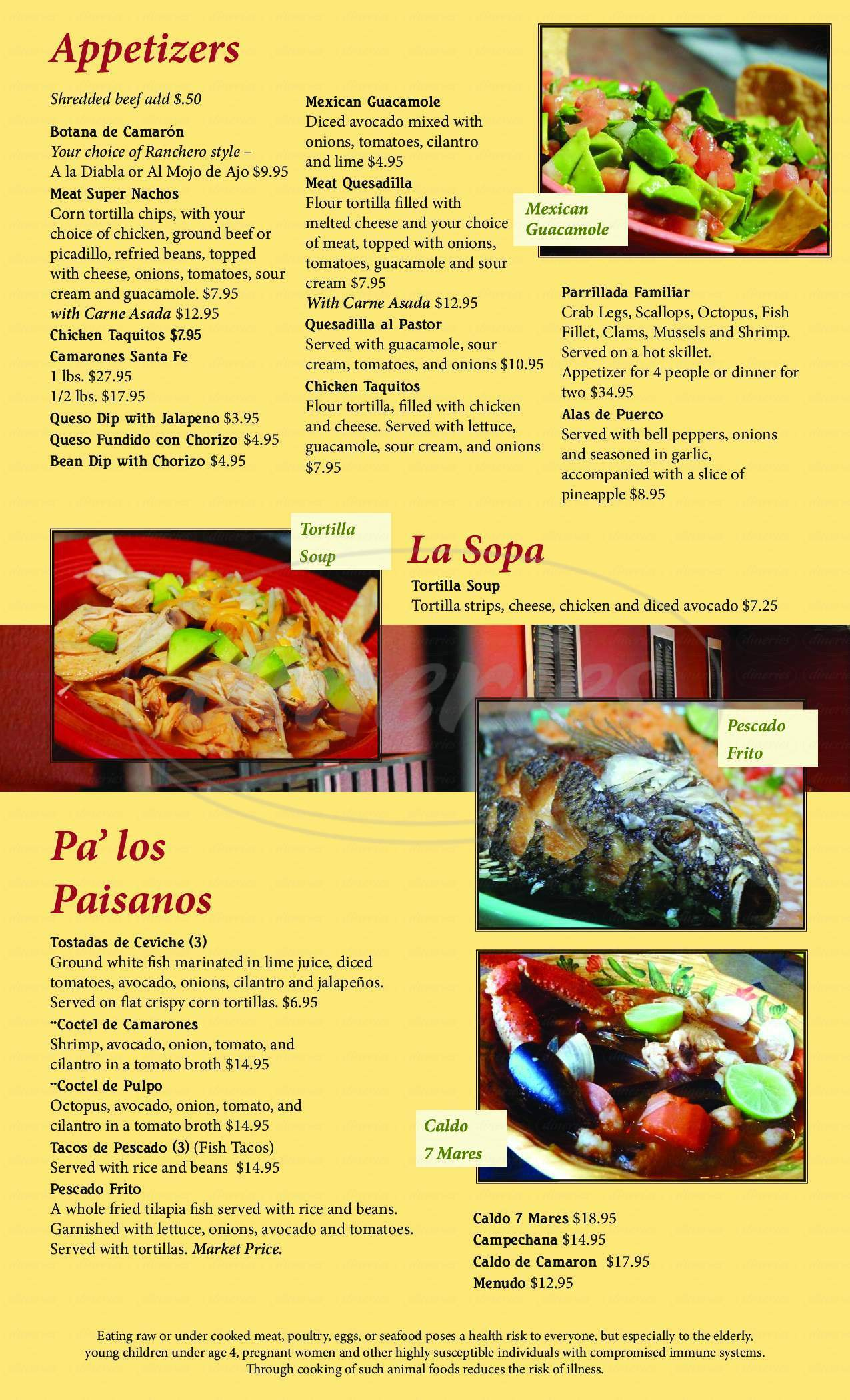 menu for Santa Fe Mexican Grill