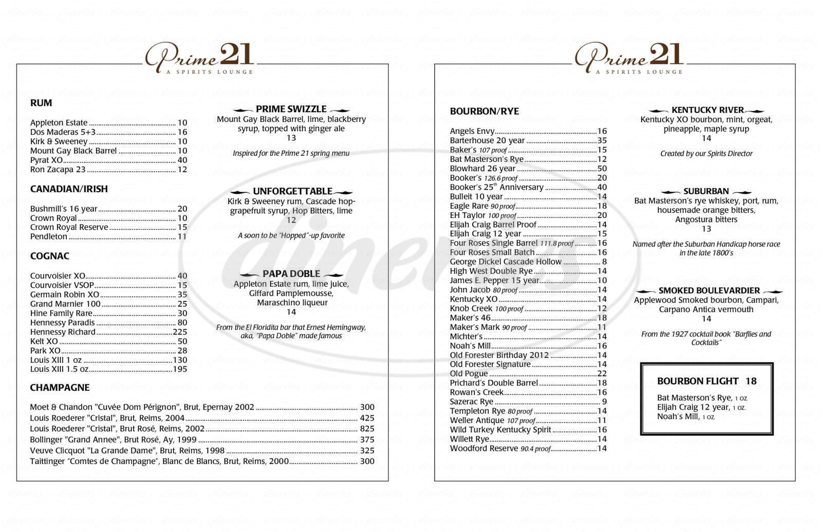 menu for Daniel's Restaurant Steakhouse & Private Dining