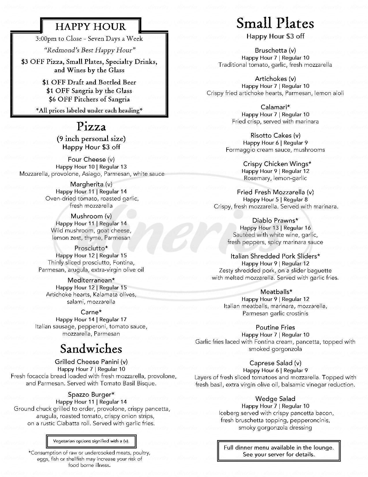 menu for Spazzo Italian Grill