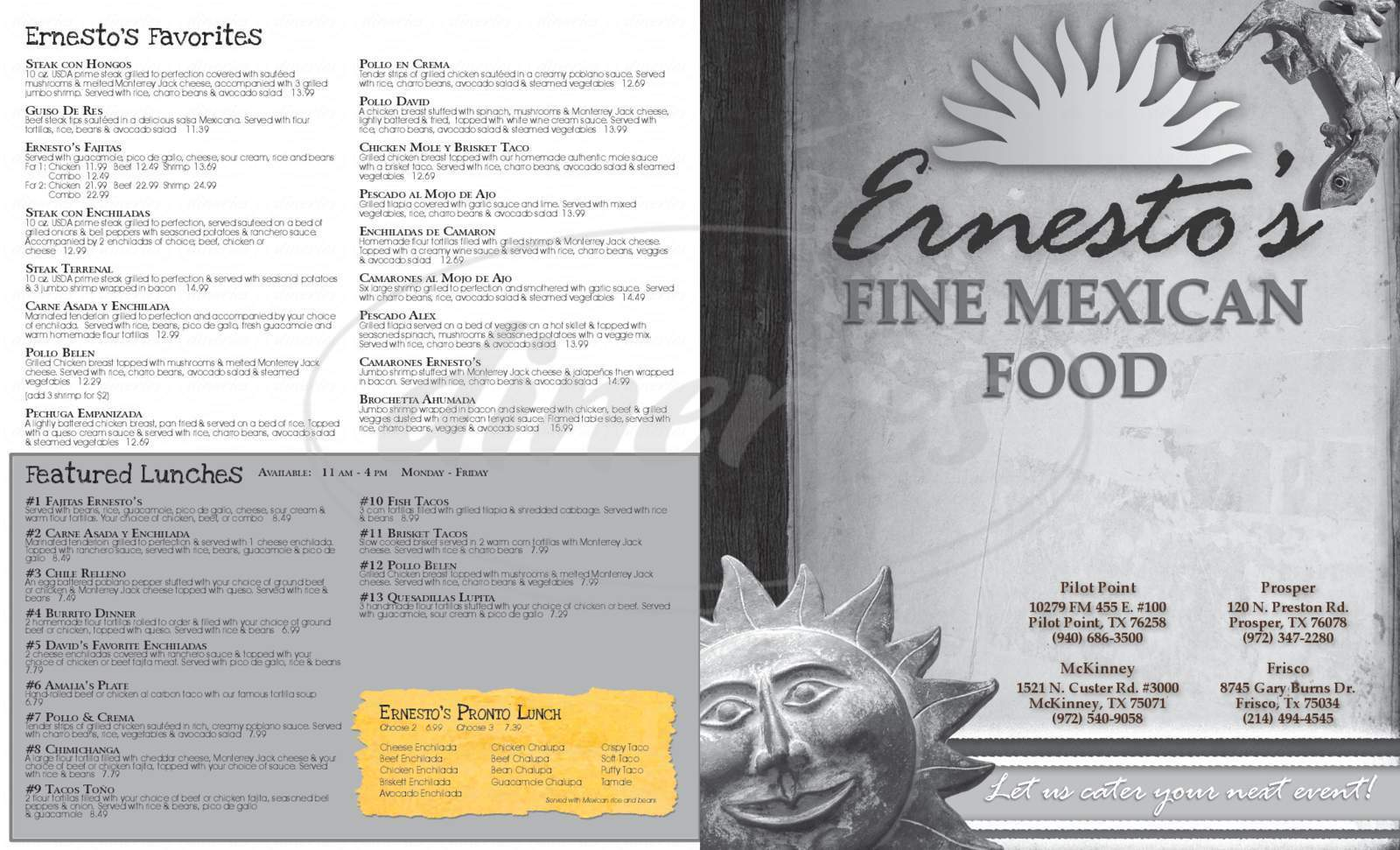 menu for Ernesto's Fine Mexican Food