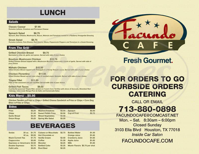 menu for Facundo Cafe