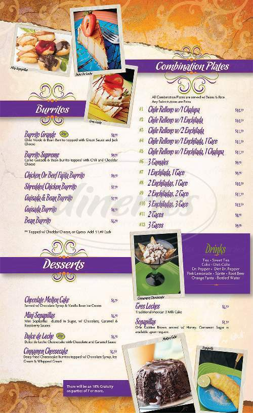 menu for La Fiesta Grande