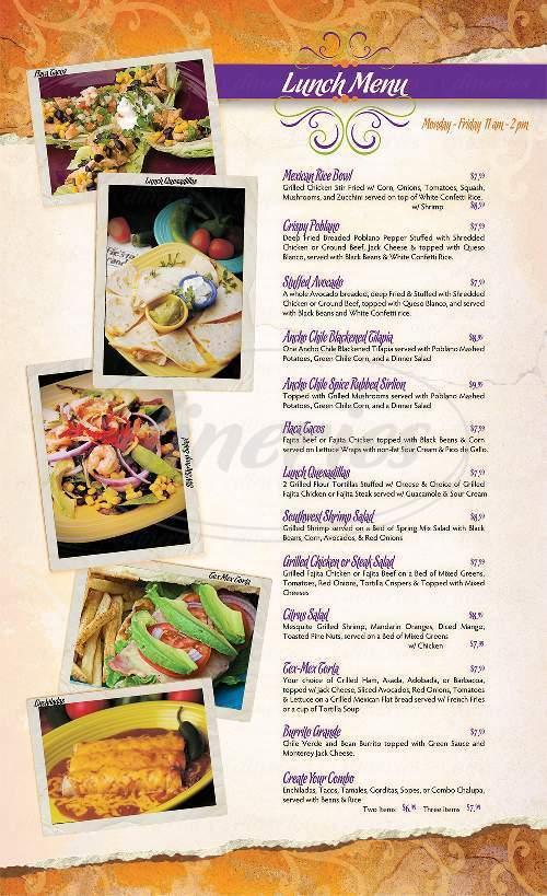 menu for La Fiesta Grande