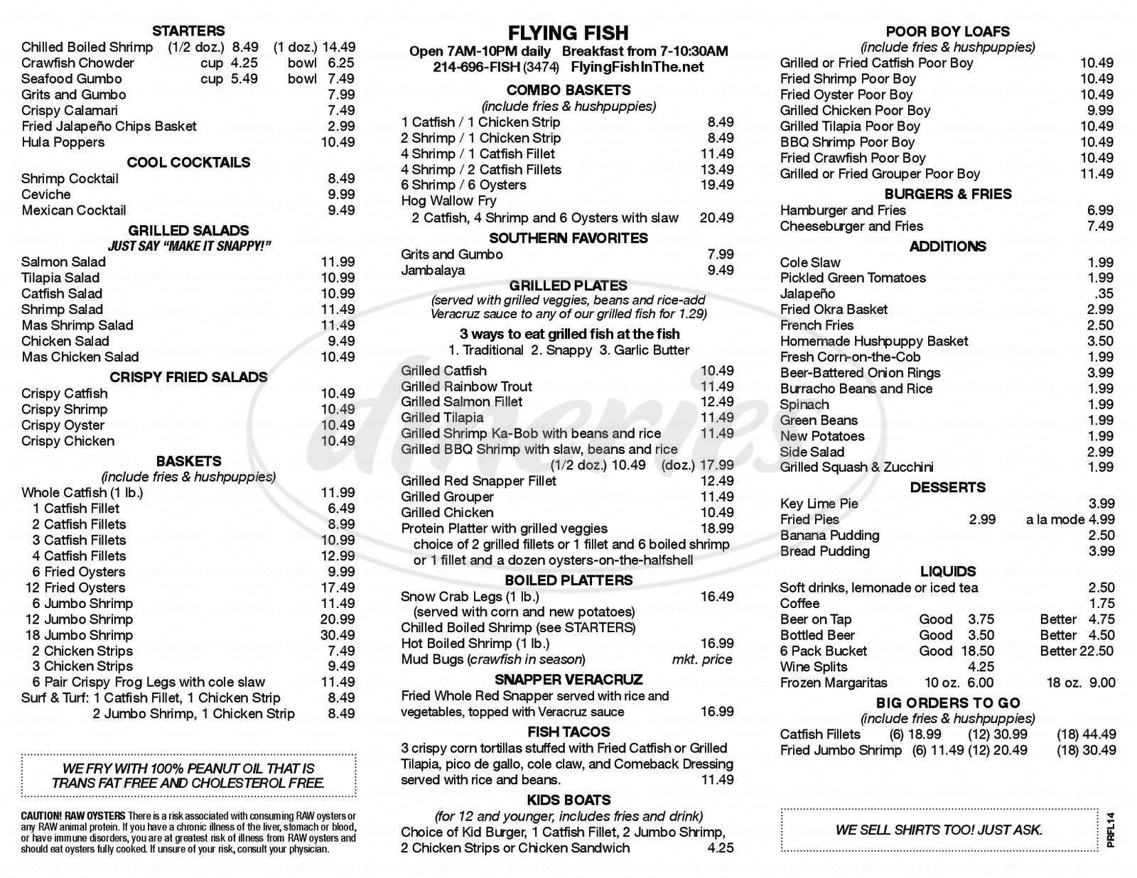 menu for Flying Fish