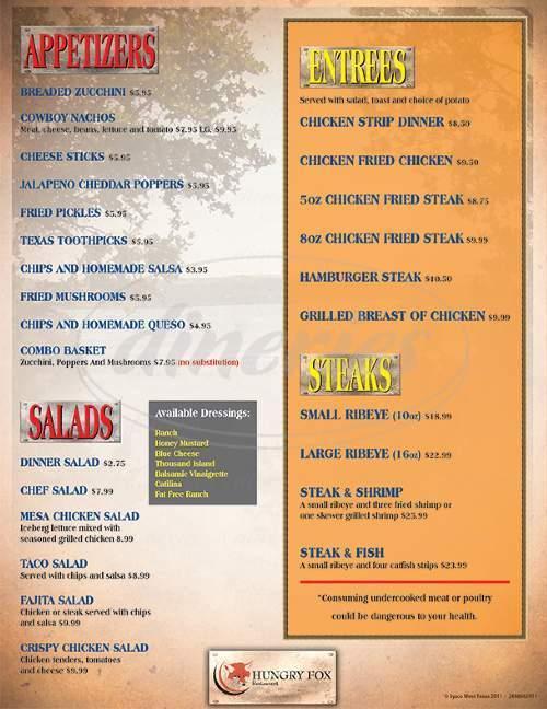 menu for Hungry Fox Restaurant