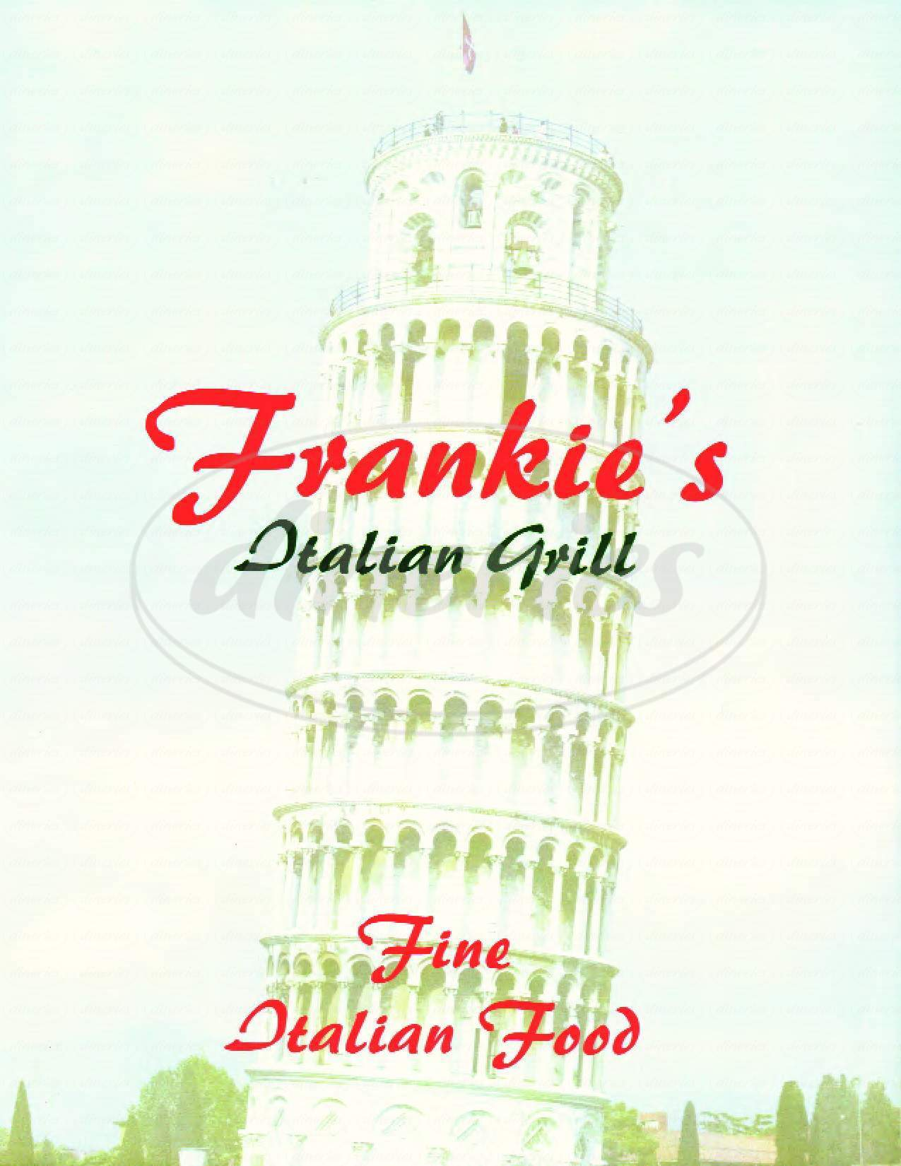 menu for Frankie's Italian Grill