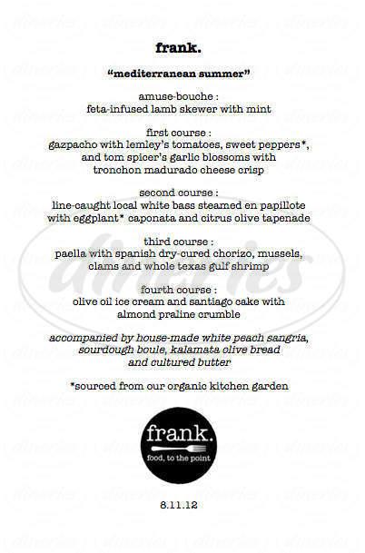 menu for Frank