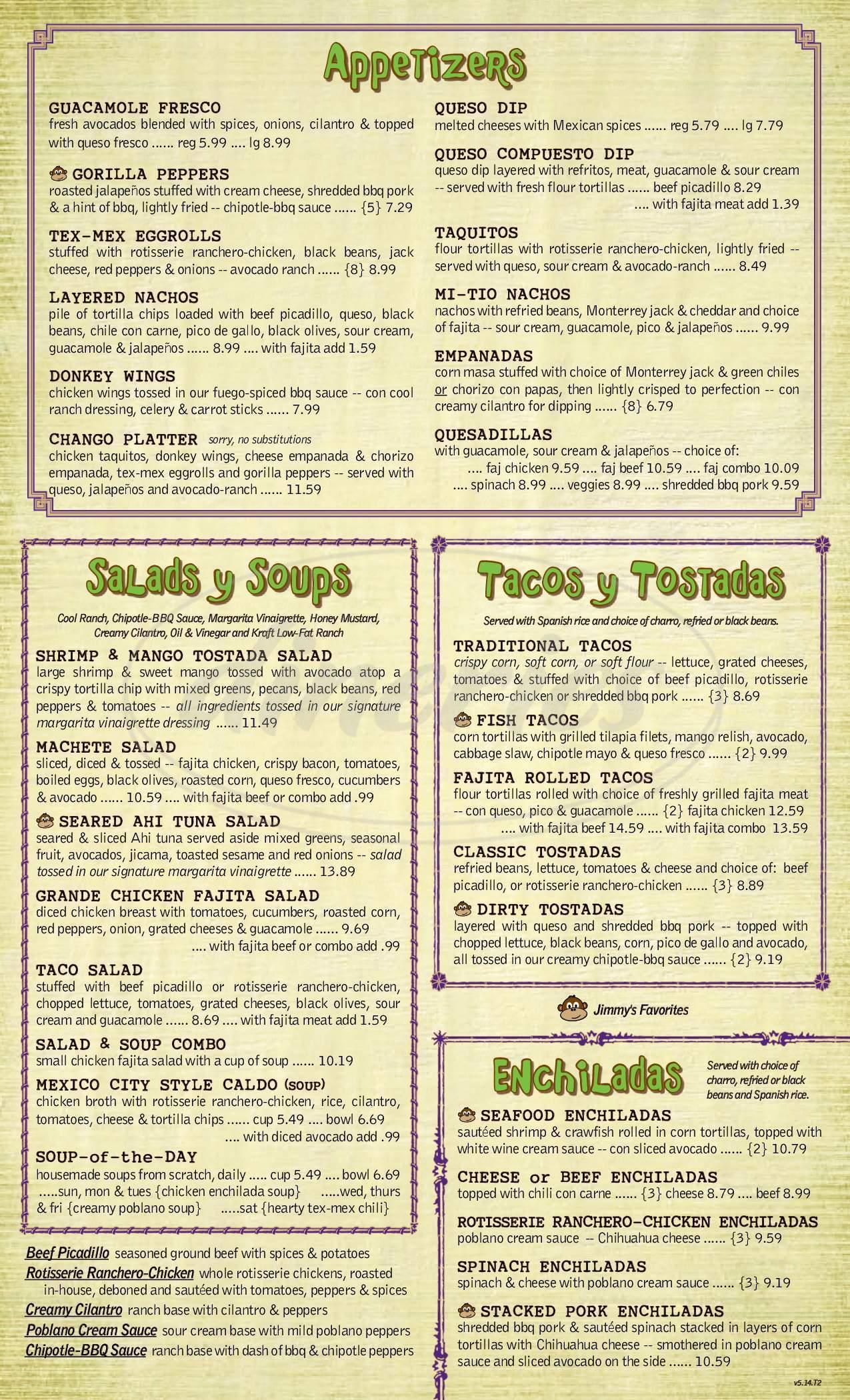 menu for Jimmy Changas