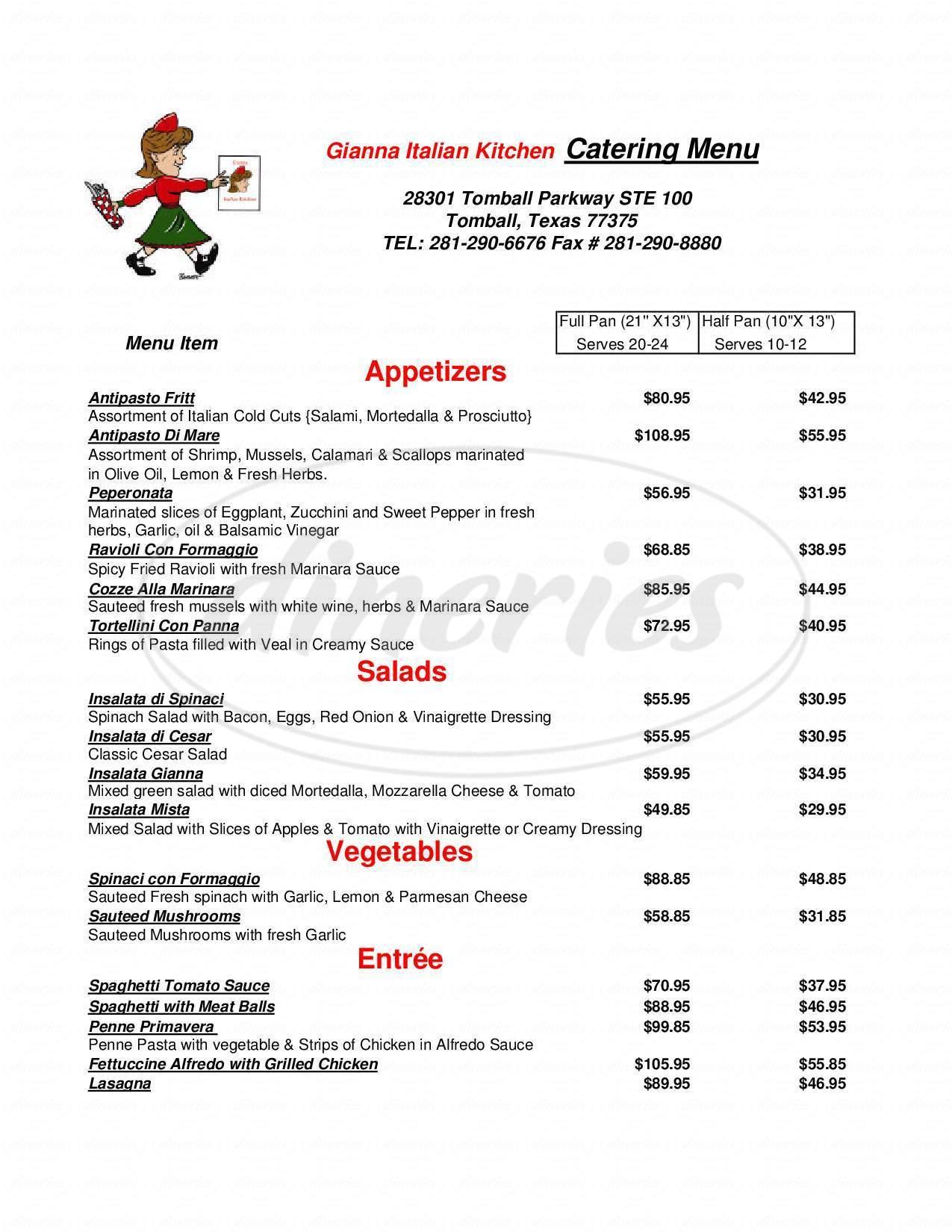 menu for Gianna Italian Kitchen