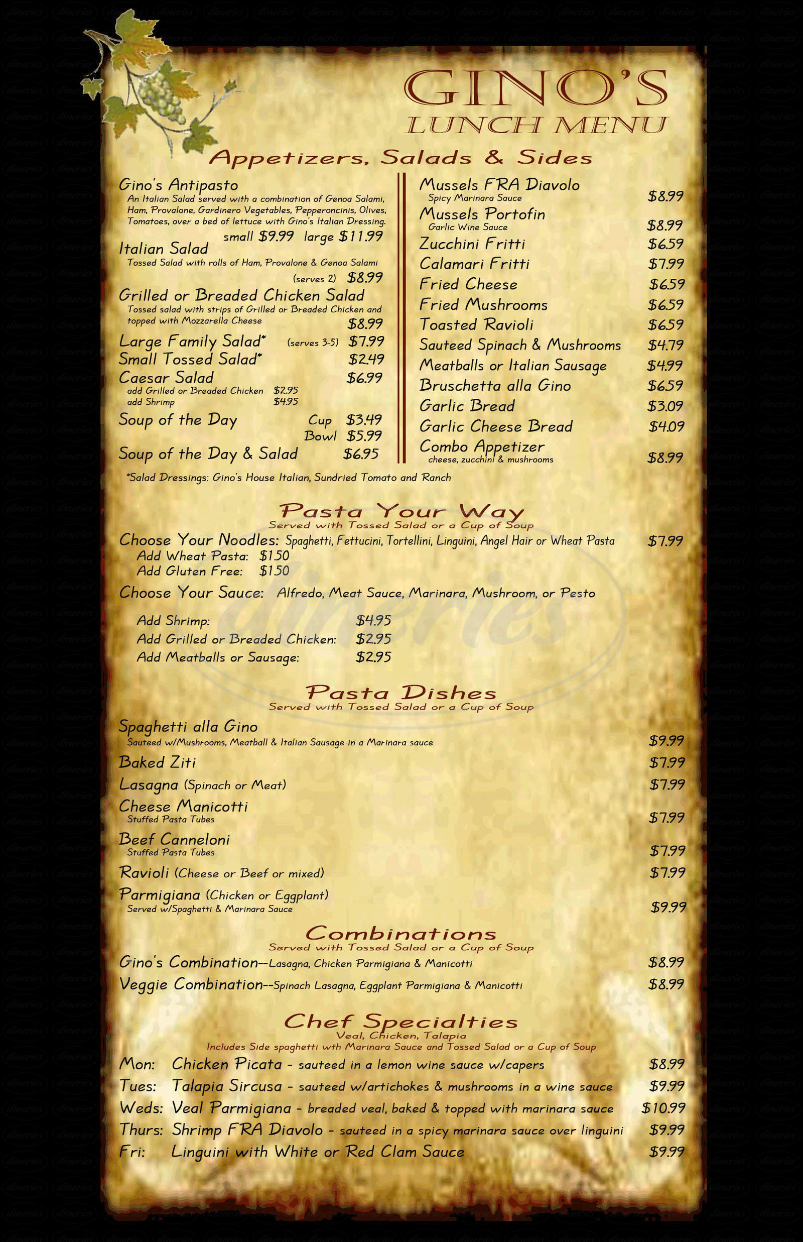 menu for Gino's Pizzeria