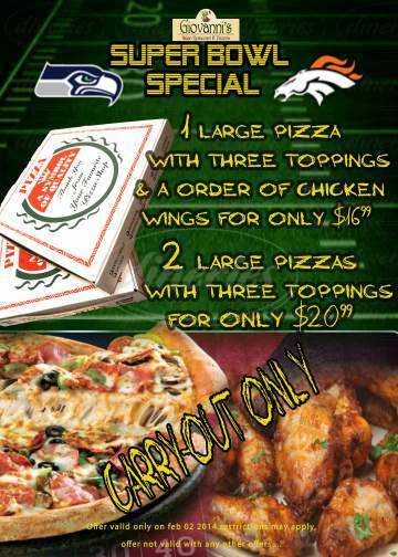 menu for Giovanni's