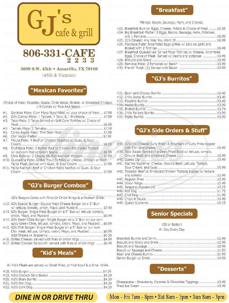 menu for GJ's Cafe & Grill