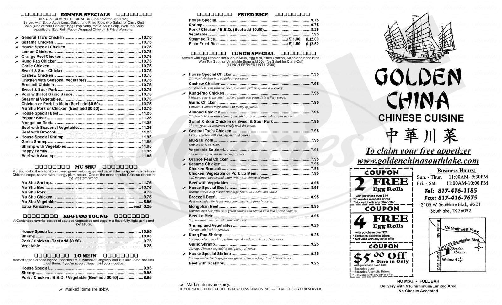 menu for Golden China