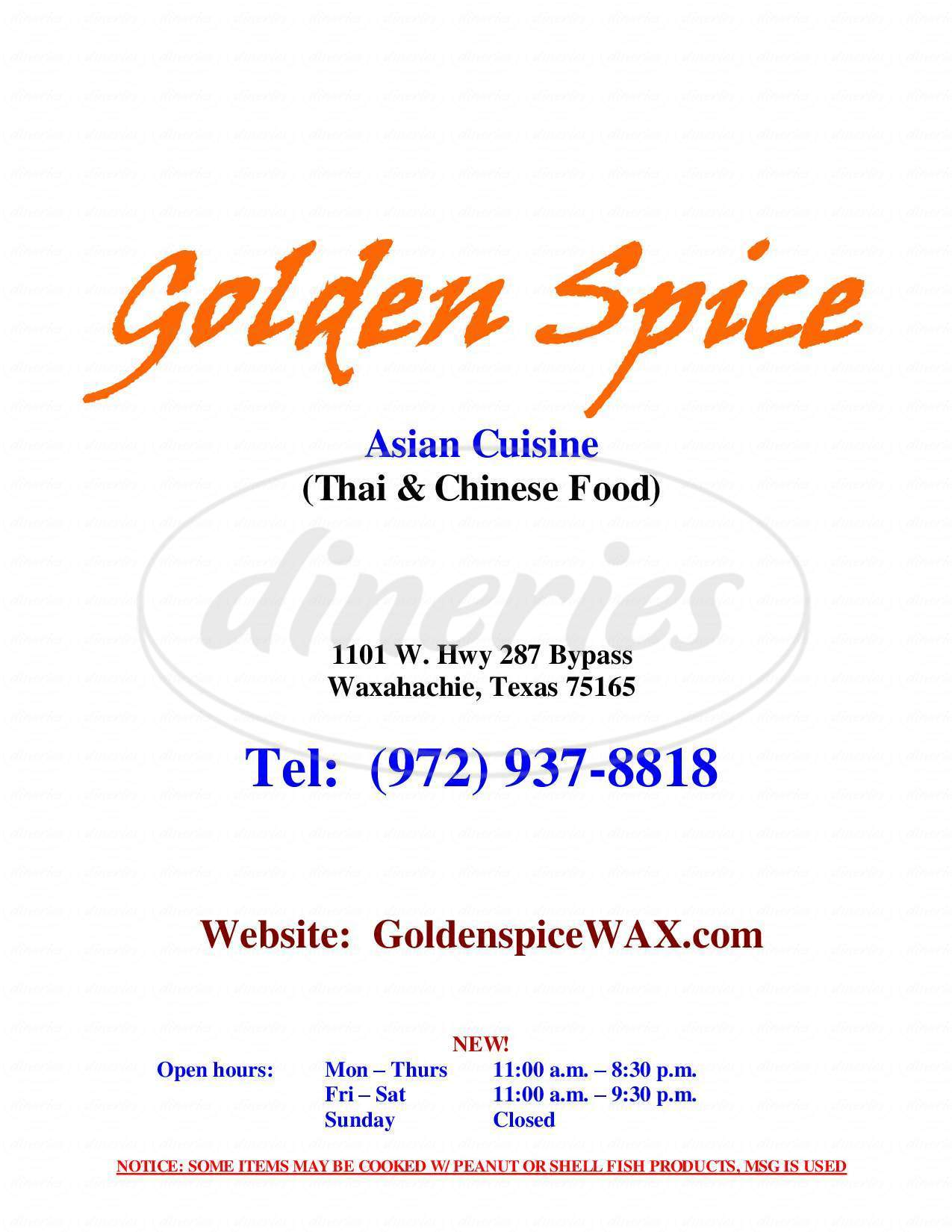 menu for Golden Spice