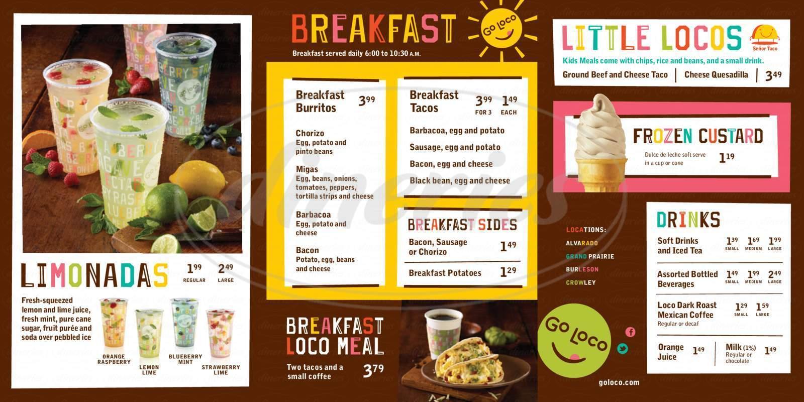 menu for Go Loco Mexican Grill