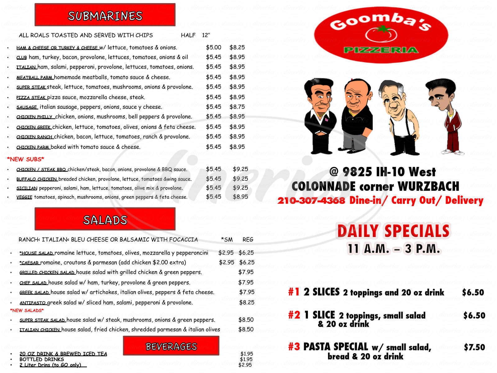 menu for Goomba's Pizzeria
