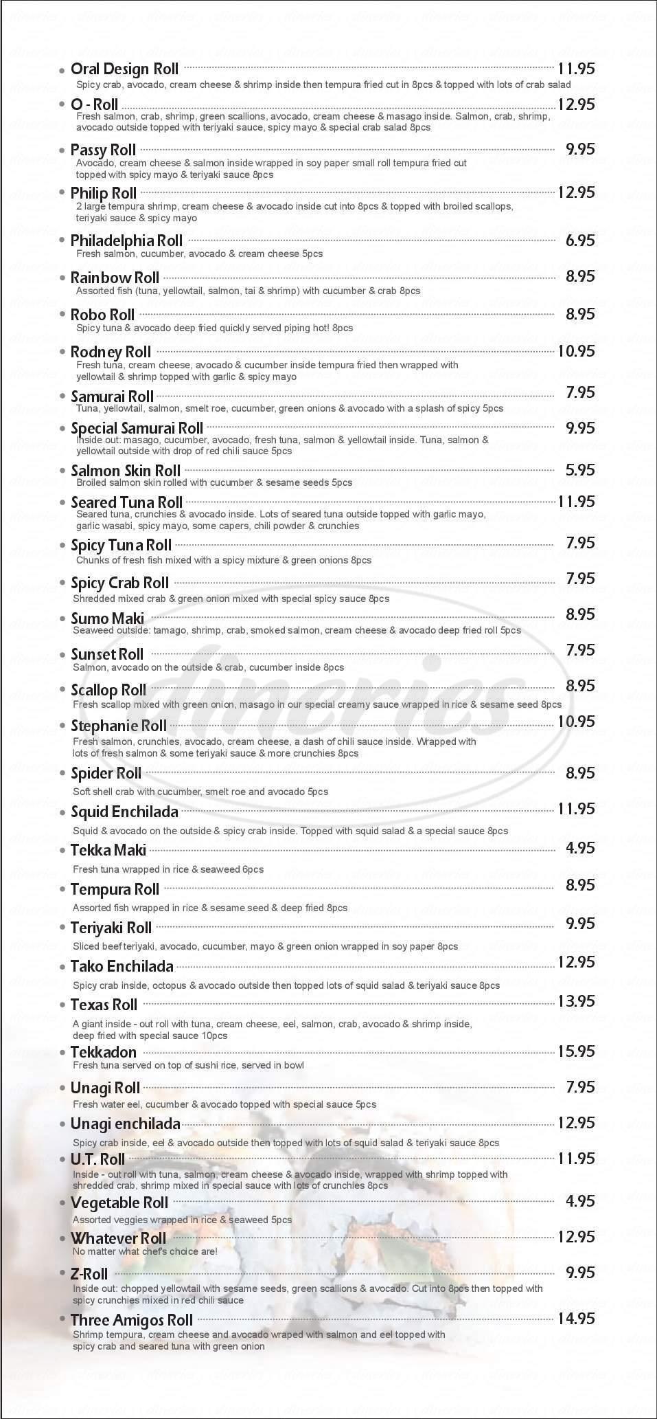 menu for Goro's Sushi