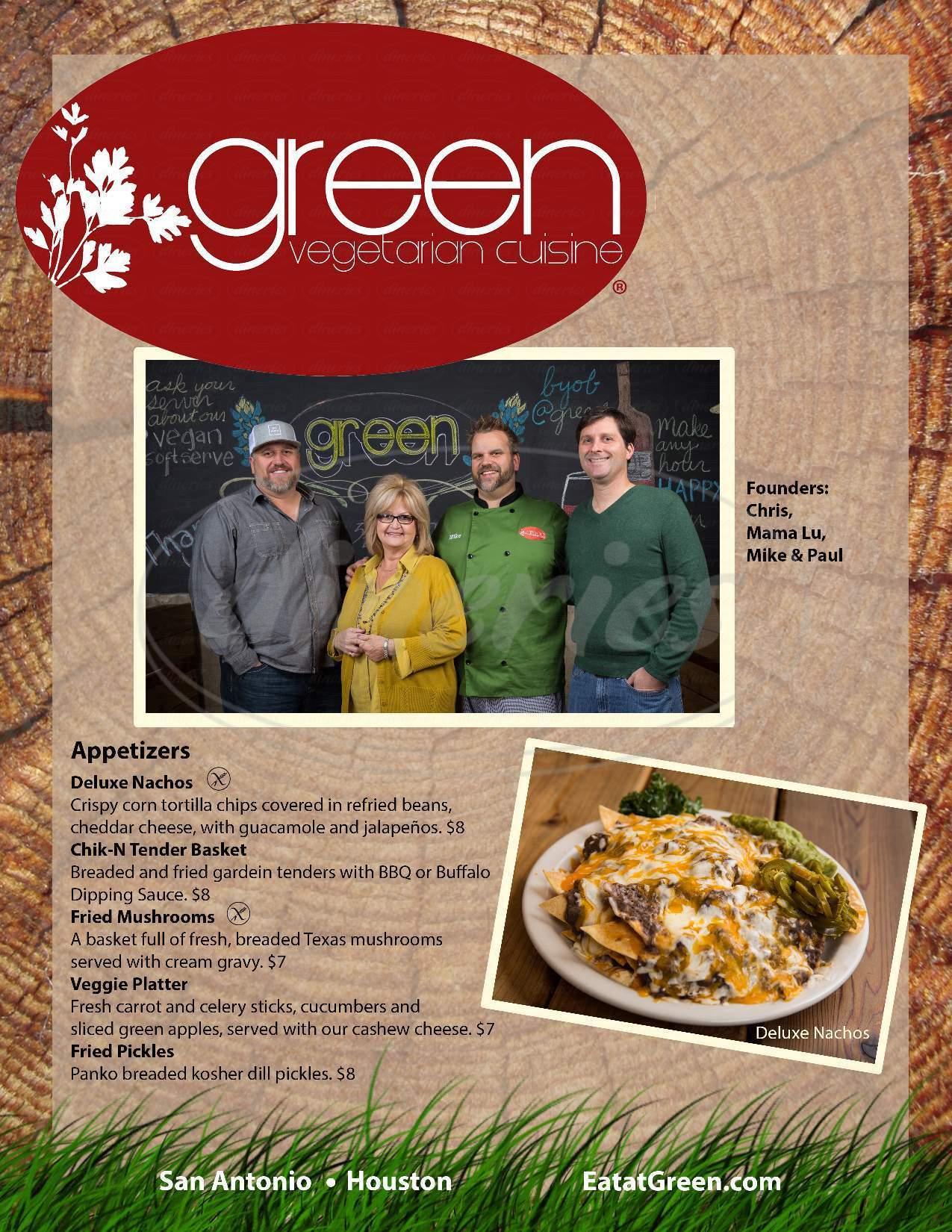 menu for Green Vegetarian Cuisine at Pearl Brewery