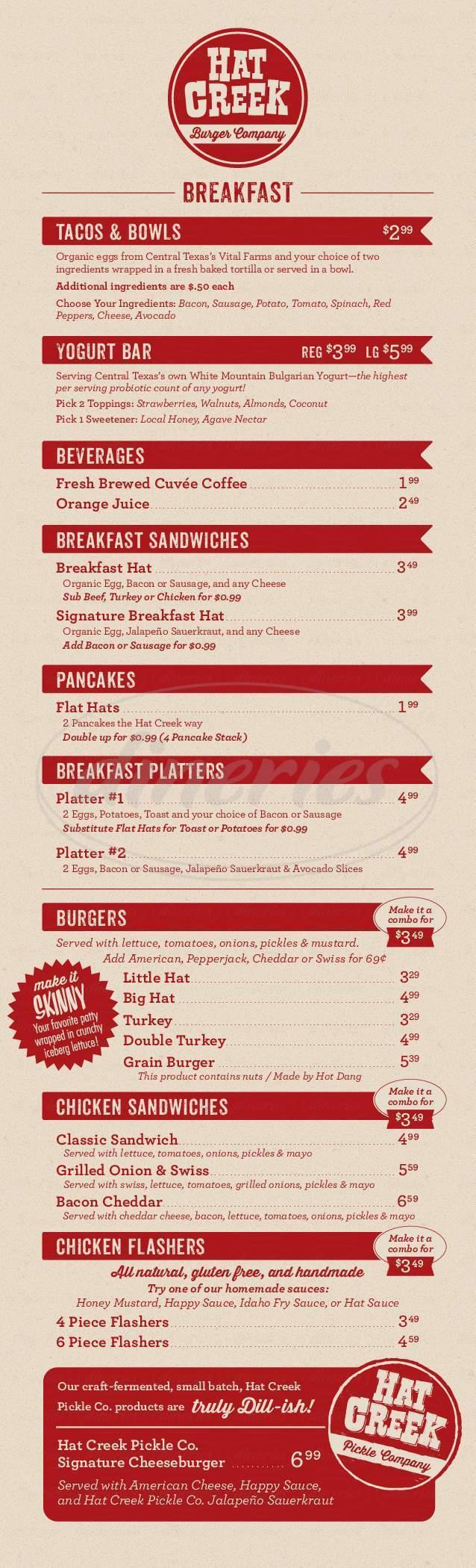 menu for Hat Creek Burger Company