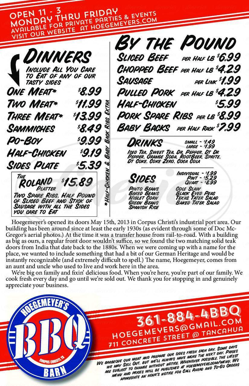 menu for Hoegemeyer's Barbeque Barn