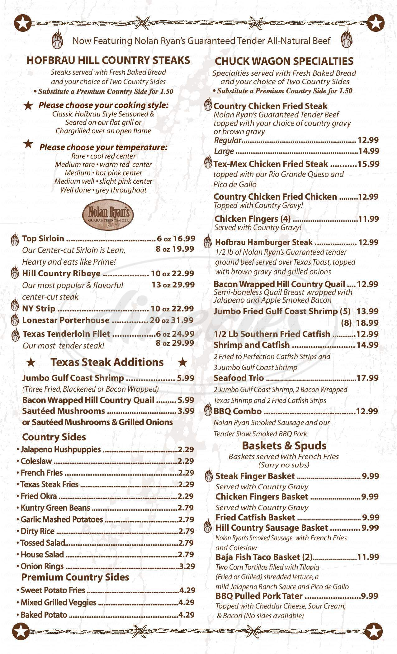 menu for Hofbrau Steaks