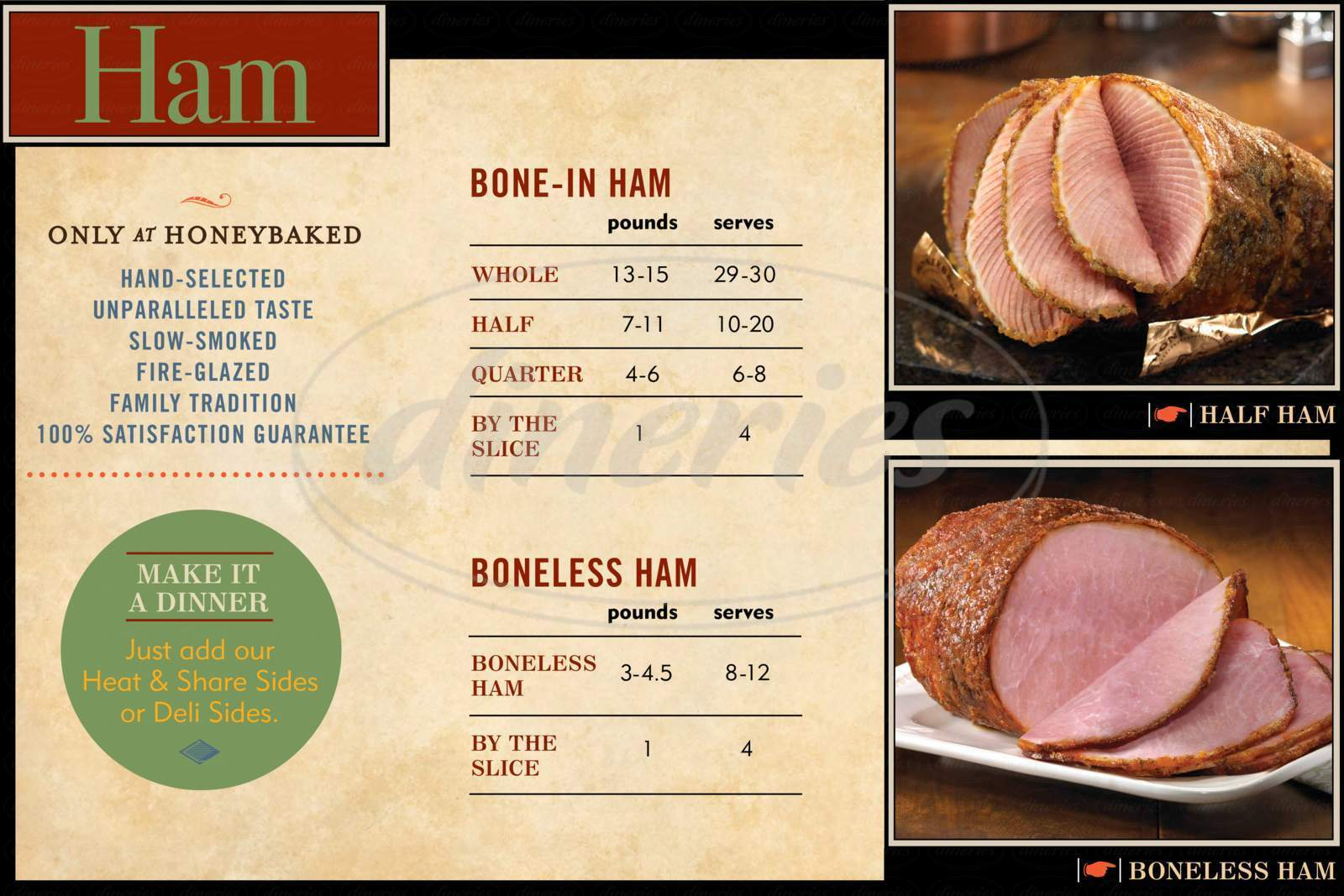 menu for HoneyBaked Ham & Cafe