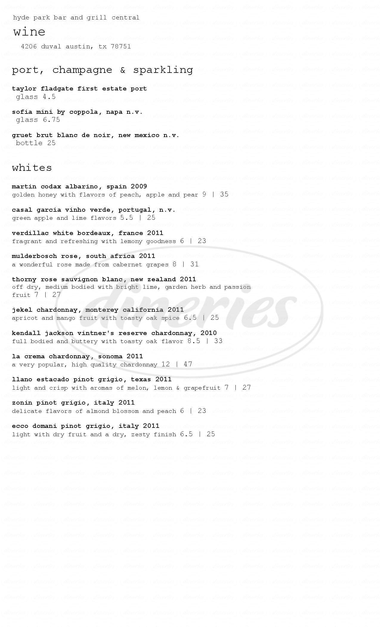 menu for Hyde Park Bar & Grill Central
