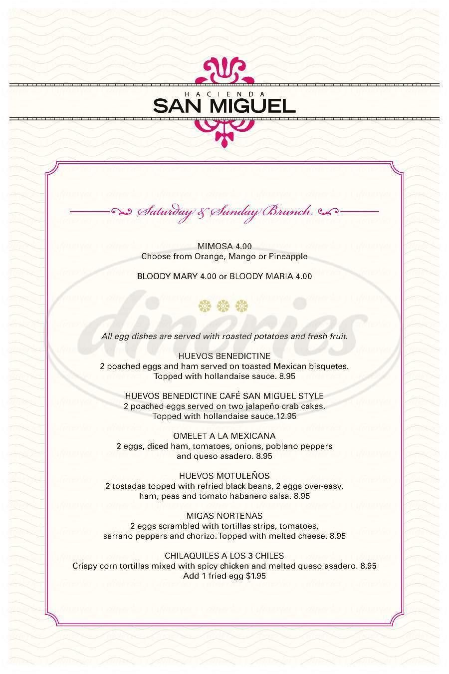 menu for Hacienda San Miguel