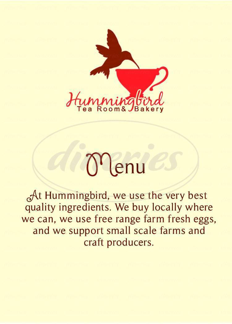 menu for Hummingbird Tea Room & Bakery